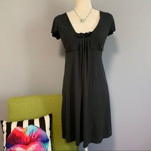 J Crew Dark Grey Short Sleeve Pleated Dress C2